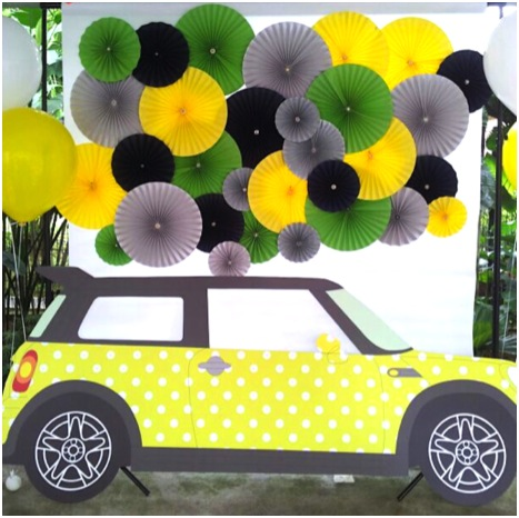 Mini Cooper photo backdrop