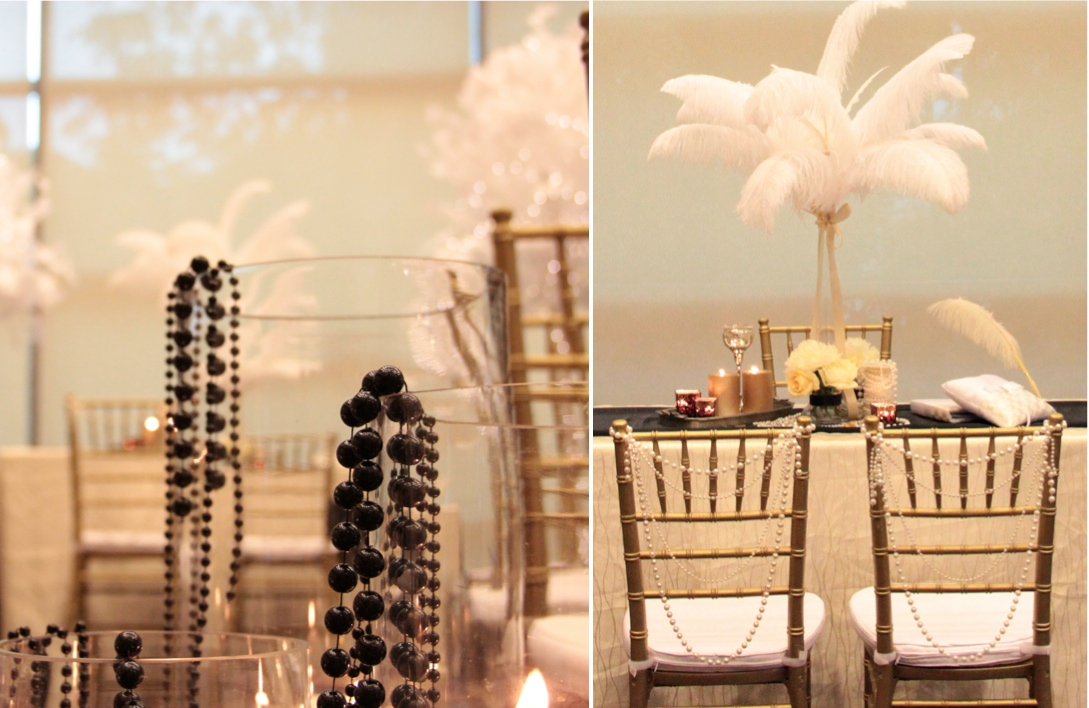 Music themed wedding centerpiece or party table lighted - The Great Gatsby Theme Featured In Blissful Brides