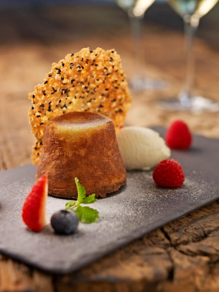 Lemon Lava Cake with Crème Chantilly